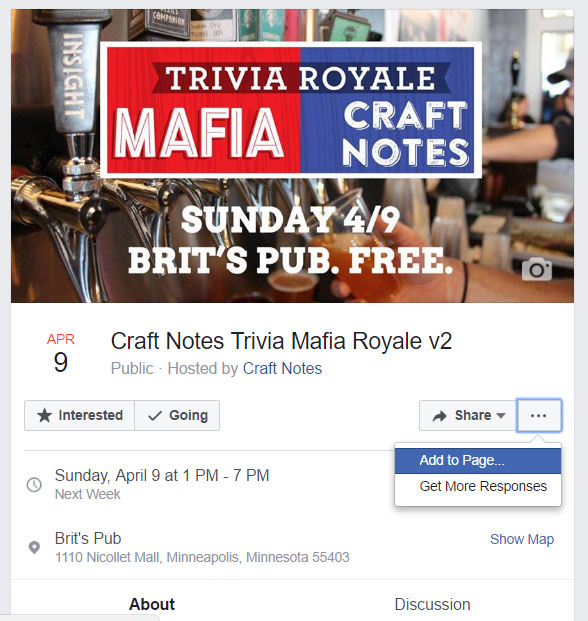 facebook event add to your page