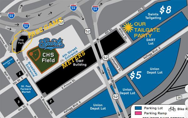 tailgate lot, parking, chs field