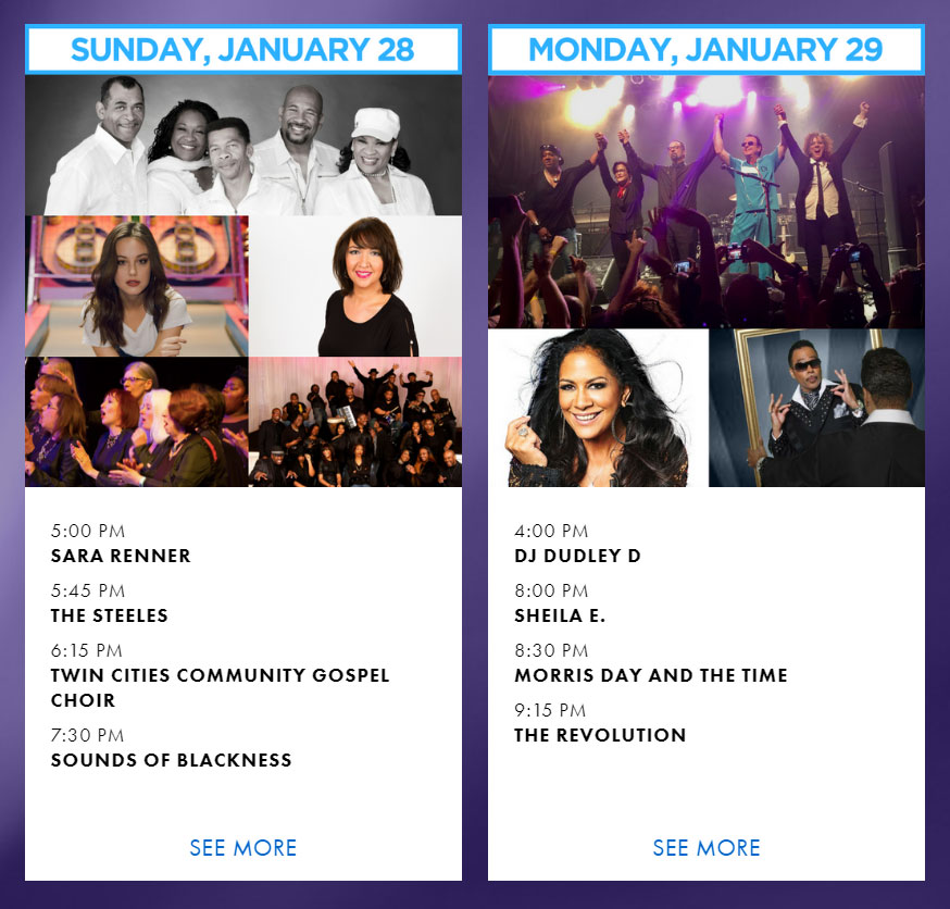 super bowl week concerts in minnesota free