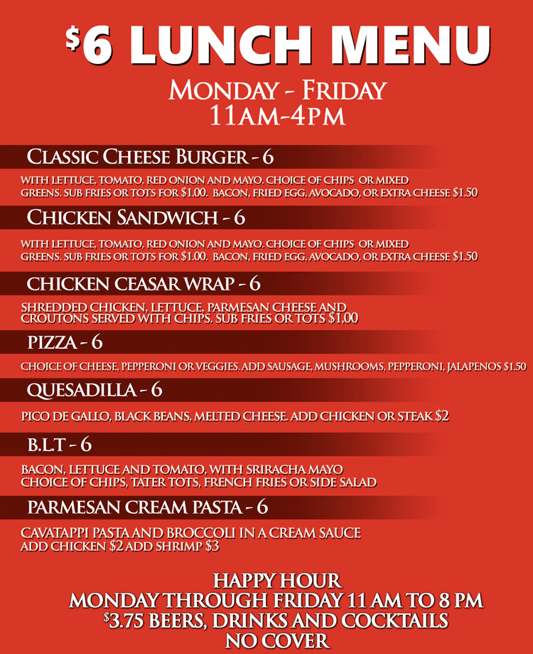 ricks cabaret happy hour lunch menu
