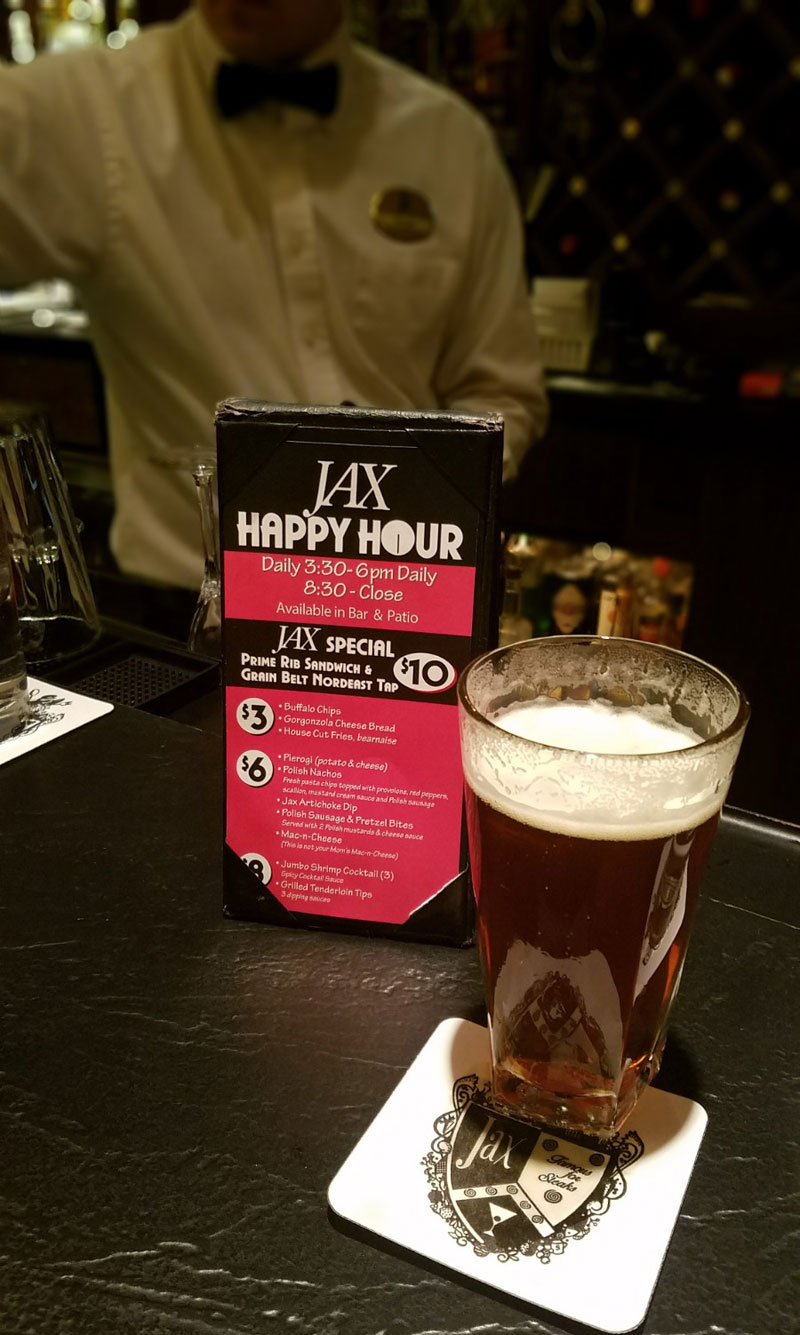 NE Minneapolis steakhouse jax cafe happy hour menu