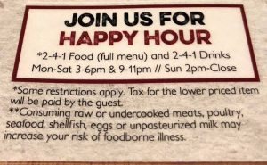 Pourhouse Bar Happy Hour Menu